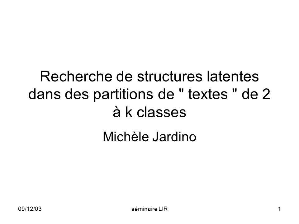 09/12/03séminaire LIR2 Page de présentation rapport dactivité BQR 2002 LREC 2004 JADT 2004 PASCAL workshop