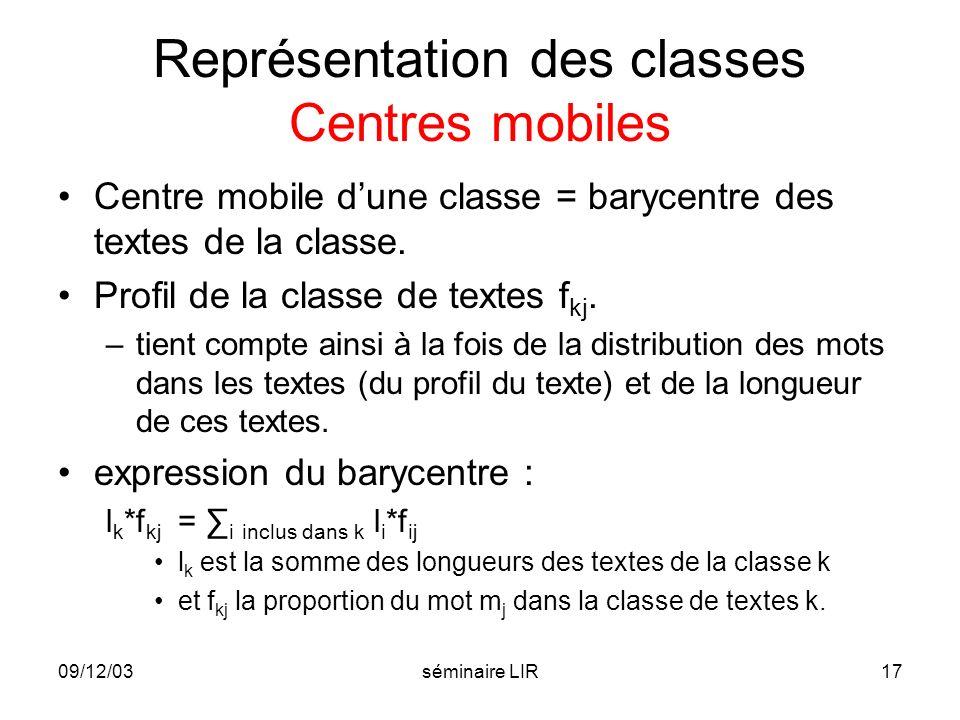 09/12/03séminaire LIR17 Représentation des classes Centres mobiles Centre mobile dune classe = barycentre des textes de la classe. Profil de la classe