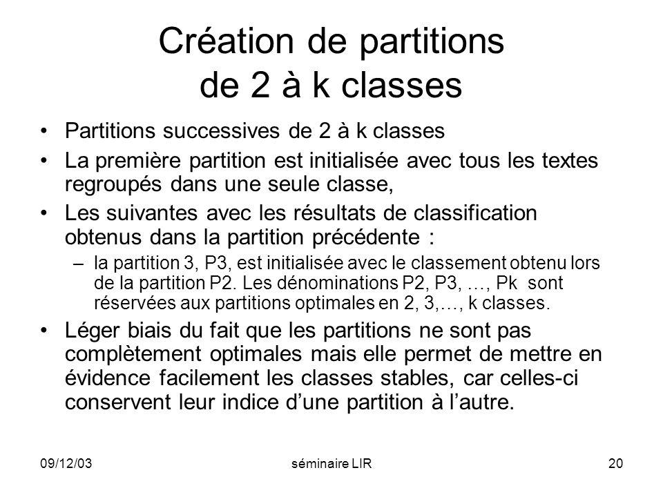 09/12/03séminaire LIR20 Création de partitions de 2 à k classes Partitions successives de 2 à k classes La première partition est initialisée avec tou