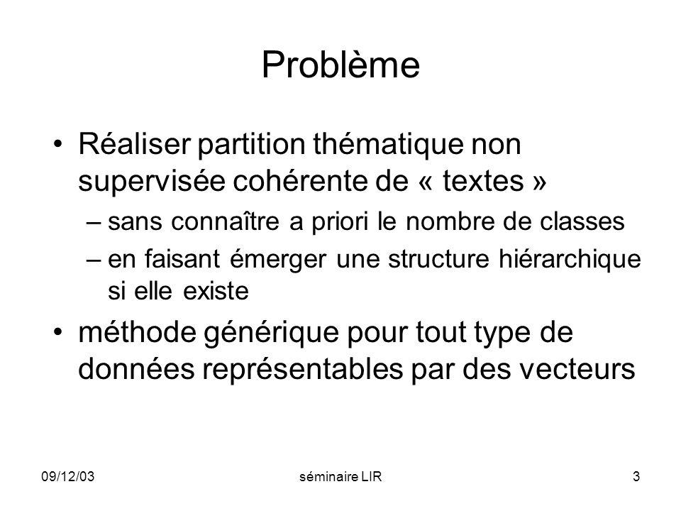 09/12/03séminaire LIR14 Partitions successives Partitionnement par classification non supervisée Enchaînement des partitions