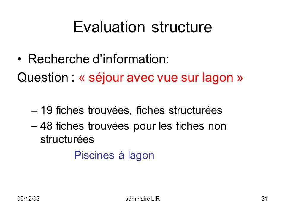 09/12/03séminaire LIR31 Evaluation structure Recherche dinformation: Question : « séjour avec vue sur lagon » –19 fiches trouvées, fiches structurées