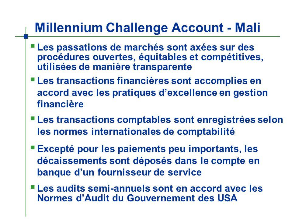 Millennium Challenge Account - Mali Les passations de marchés sont axées sur des procédures ouvertes, équitables et compétitives, utilisées de manière