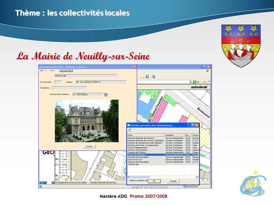 Mastère ASIGPromo 2007/2008 Mastère ASIG Promo 2007/2008 Thème : les collectivités locales La Mairie de Neuilly-sur-Seine