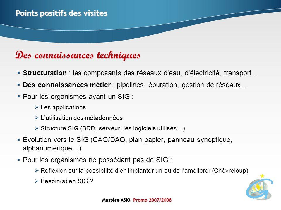 Mastère ASIGPromo 2007/2008 Mastère ASIG Promo 2007/2008 Structuration : les composants des réseaux deau, délectricité, transport… Des connaissances m