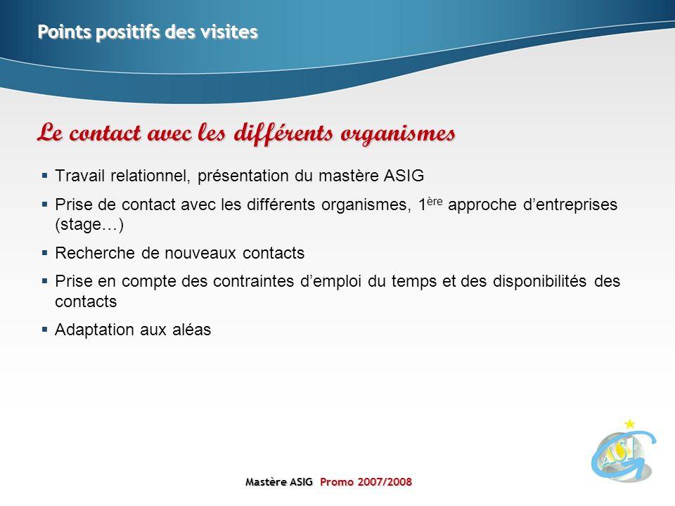 Mastère ASIGPromo 2007/2008 Mastère ASIG Promo 2007/2008 Travail relationnel, présentation du mastère ASIG Prise de contact avec les différents organi