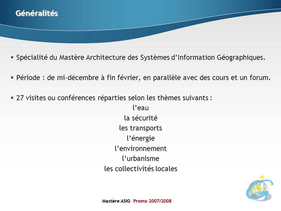 Mastère ASIGPromo 2007/2008 Mastère ASIG Promo 2007/2008 Spécialité du Mastère Architecture des Systèmes dInformation Géographiques. Période : de mi-d