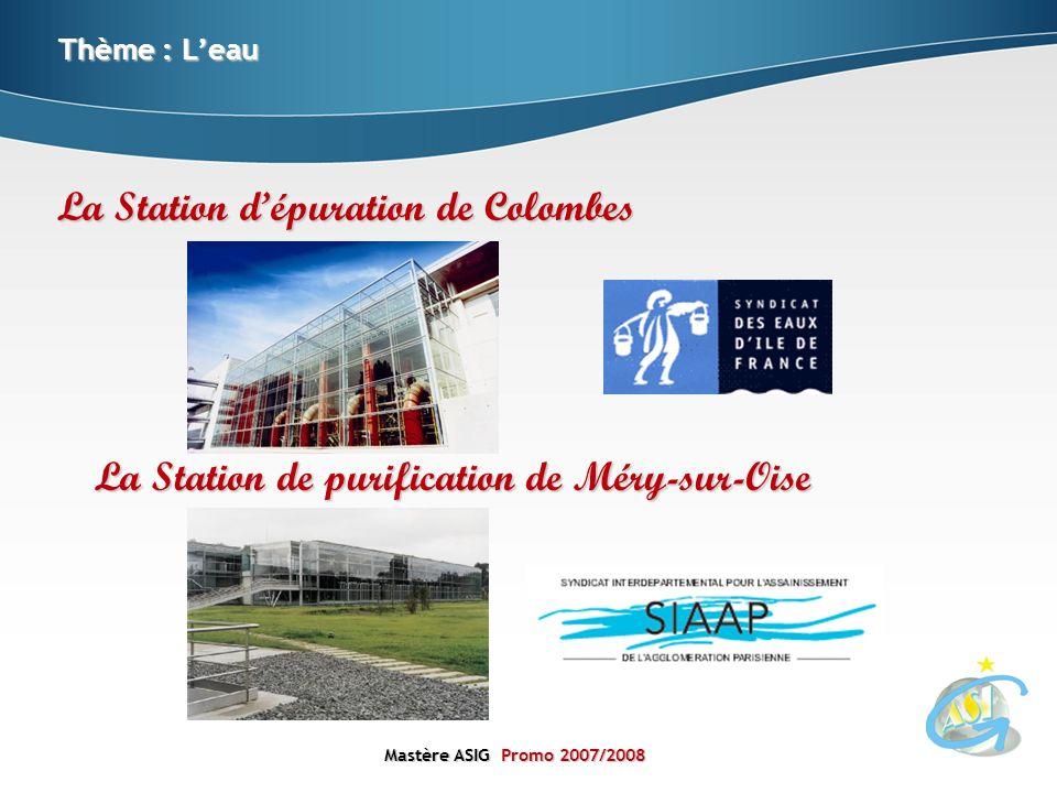 Mastère ASIGPromo 2007/2008 Mastère ASIG Promo 2007/2008 Thème : Leau La Station dépuration de Colombes La Station de purification de Méry-sur-Oise