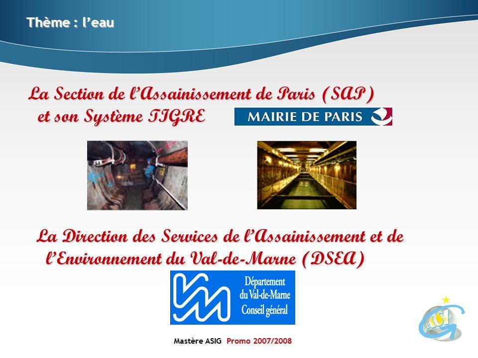 Mastère ASIGPromo 2007/2008 Mastère ASIG Promo 2007/2008 La Section de lAssainissement de Paris (SAP) et son Système TIGRE Thème : leau La Direction d