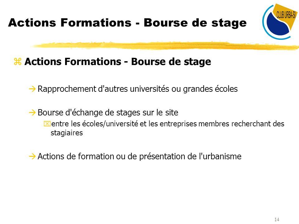 14 Actions Formations - Bourse de stage zActions Formations - Bourse de stage àRapprochement d'autres universités ou grandes écoles àBourse d'échange
