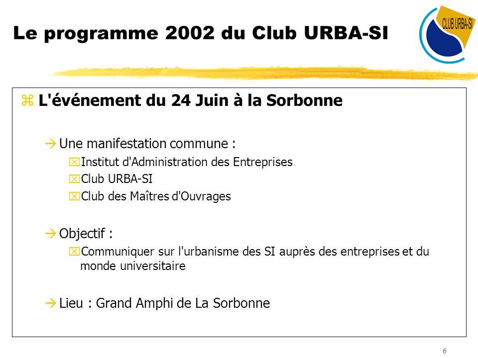 7 Le programme 2002 du Club URBA-SI zLes Mardis de l Urba àPrésentations thématiques : xVeille technologique : présentations de fournisseurs EAI, XML, Composants logiciels, progiciel carto, … xDémarches de cabinets xRetours d expérience entreprises