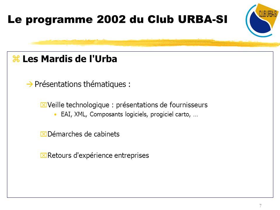 8 Le programme 2002 du Club URBA-SI zCalendrier et programme des Mardis de l Urba : Dates Intervenants Thèmes 29/01 NOMIA- Mise en place d un cadre d architecture fonctionnelle - Communication sur des travaux d architecture fonctionnelle 05/03 AKAZI- Présentation des technologies et des enjeux du BPM 26/03BSB France- De l Urbanisation d une architecture fonctionnelle groupe à la définition d un framework technique 30/04 Aéroport de Paris- Démarche et plan d urbanisation 28/05Air France- Le Système de dialogue inter-applications d Air France ADHESION 24/09 22/10