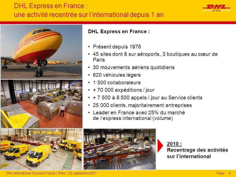 DHL International Express France | Paris | 22 septembre 2011Page9 DHL Express en France : une activité recentrée sur linternational depuis 1 an DHL Express en France : Présent depuis 1976 45 sites dont 8 sur aéroports, 3 boutiques au cœur de Paris 30 mouvements aériens quotidiens 620 véhicules légers 1 500 collaborateurs + 70 000 expéditions / jour + 7 500 à 8 500 appels / jour au Service clients 25 000 clients, majoritairement entreprises Leader en France avec 25% du marché de lexpress international (volume) 2010 : Recentrage des activités sur linternational
