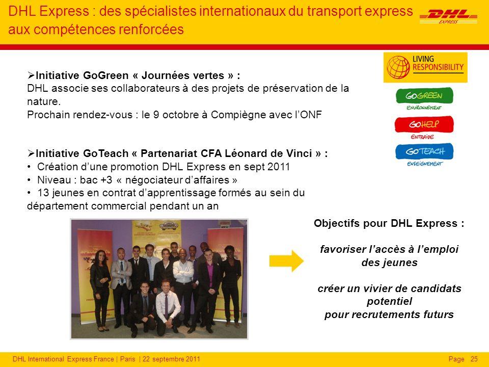 DHL International Express France | Paris | 22 septembre 2011Page25 Initiative GoGreen « Journées vertes » : DHL associe ses collaborateurs à des projets de préservation de la nature.