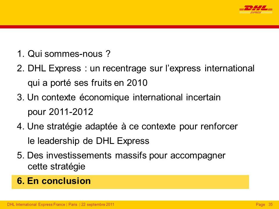 DHL International Express France | Paris | 22 septembre 2011Page35 1.