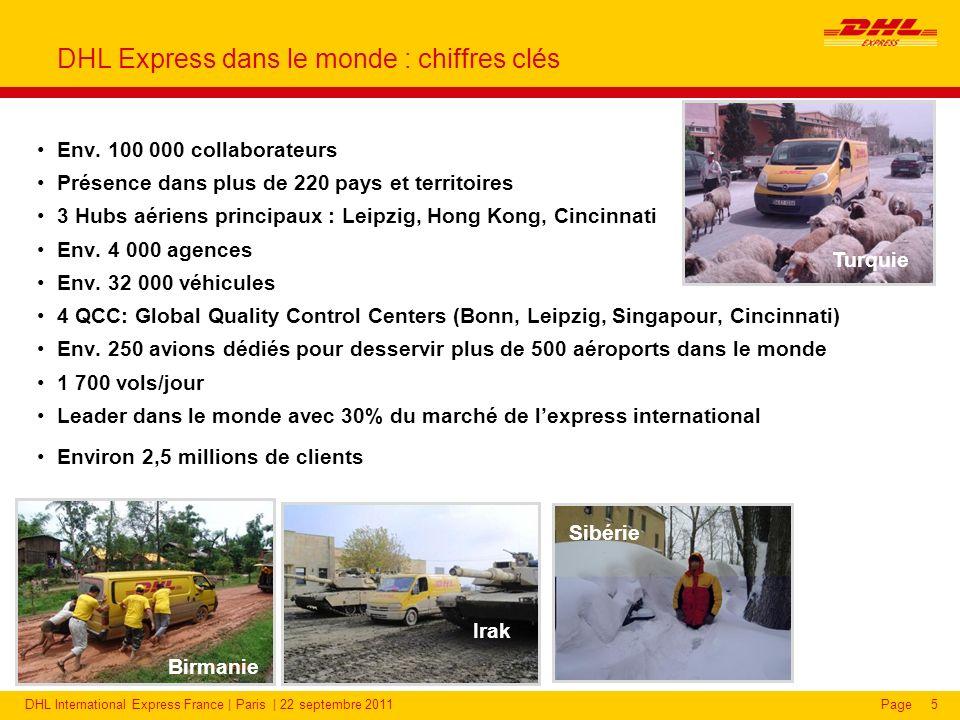 DHL International Express France | Paris | 22 septembre 2011Page DHL Express : une présence accrue dans de nouveaux pays émergents 16 A lexport : Soutenir la croissance avec nos principaux partenaires en Europe.