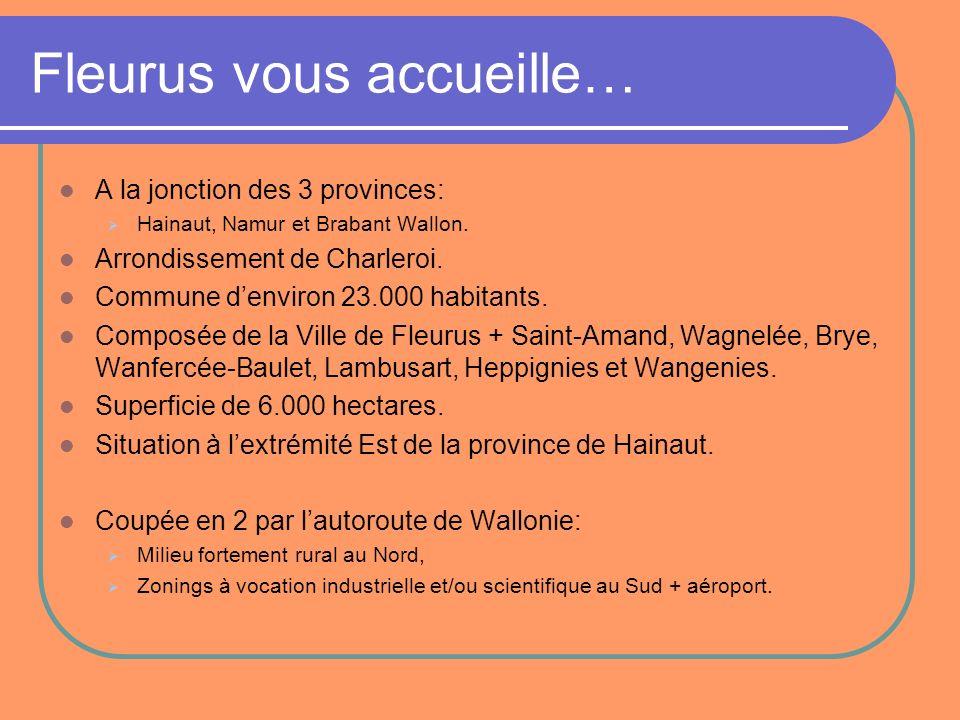 Fleurus vous accueille… A la jonction des 3 provinces: Hainaut, Namur et Brabant Wallon. Arrondissement de Charleroi. Commune denviron 23.000 habitant