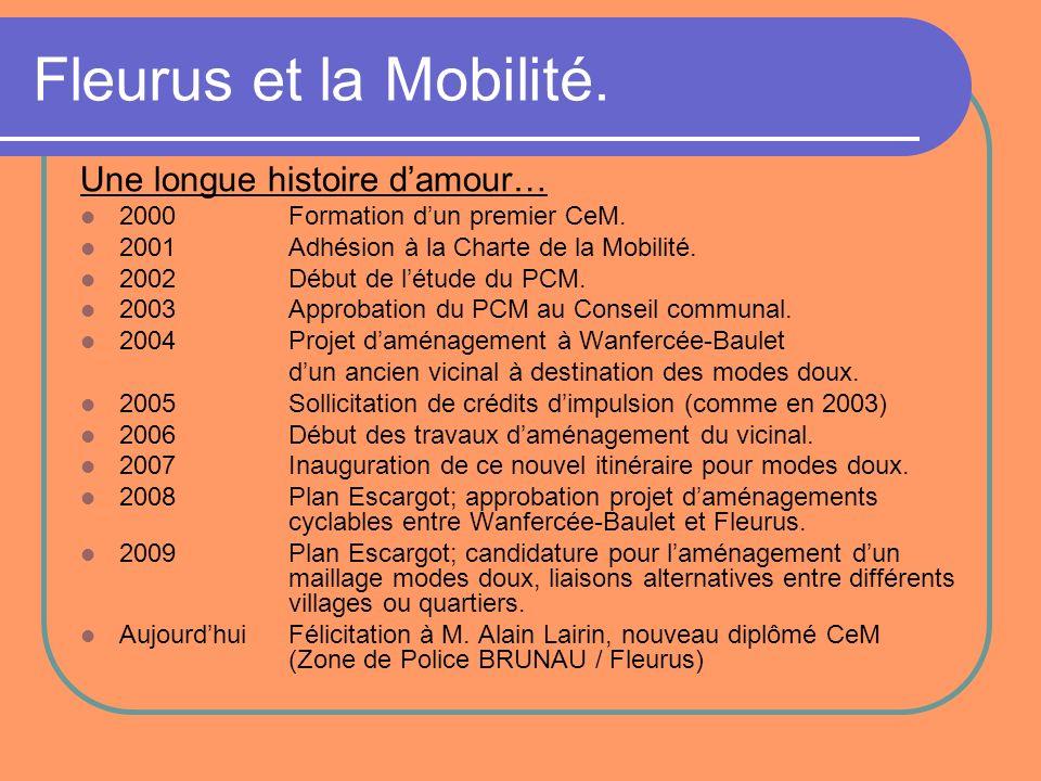 Fleurus et la Mobilité. Une longue histoire damour… 2000Formation dun premier CeM. 2001Adhésion à la Charte de la Mobilité. 2002Début de létude du PCM
