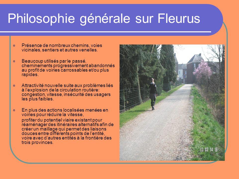 Philosophie générale sur Fleurus Présence de nombreux chemins, voies vicinales, sentiers et autres venelles. Beaucoup utilisés par le passé, chemineme