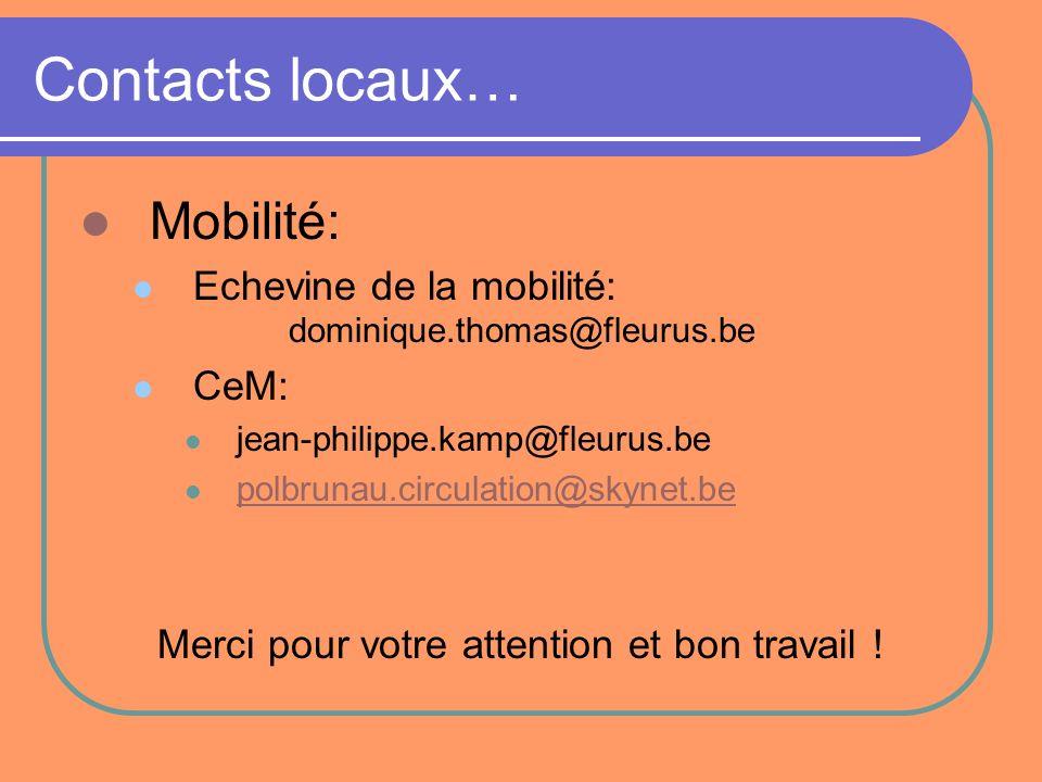 Contacts locaux… Mobilité: Echevine de la mobilité: dominique.thomas@fleurus.be CeM: jean-philippe.kamp@fleurus.be polbrunau.circulation@skynet.be Mer