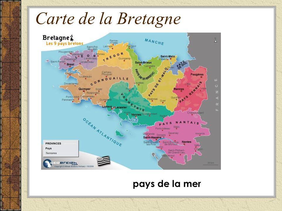 Carte de la Bretagne pays de la mer