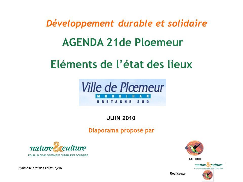 Synthèse état des lieux/Enjeux Réalisé par Développement durable et solidaire AGENDA 21de Ploemeur Eléments de létat des lieux Diaporama proposé par K