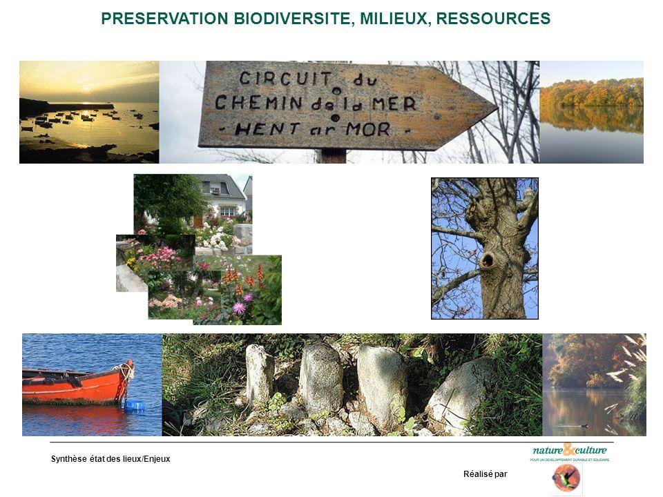 Synthèse état des lieux/Enjeux Réalisé par PRESERVATION BIODIVERSITE, MILIEUX, RESSOURCES