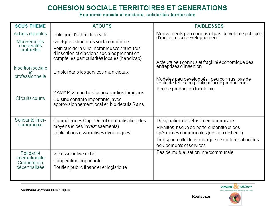 Synthèse état des lieux/Enjeux Réalisé par COHESION SOCIALE TERRITOIRES ET GENERATIONS Economie sociale et solidaire, solidarités territoriales SOUS T