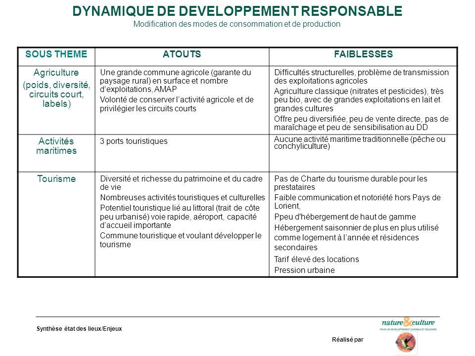Synthèse état des lieux/Enjeux Réalisé par DYNAMIQUE DE DEVELOPPEMENT RESPONSABLE Modification des modes de consommation et de production SOUS THEMEAT