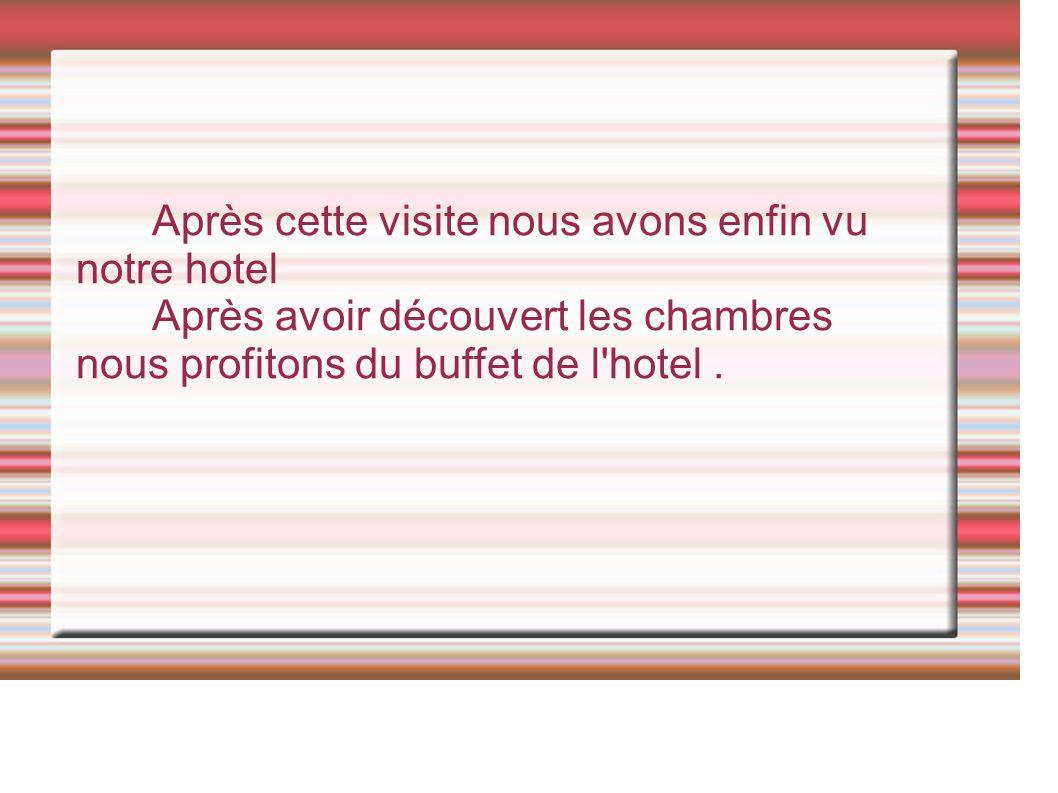 Après cette visite nous avons enfin vu notre hotel Après avoir découvert les chambres nous profitons du buffet de l hotel.