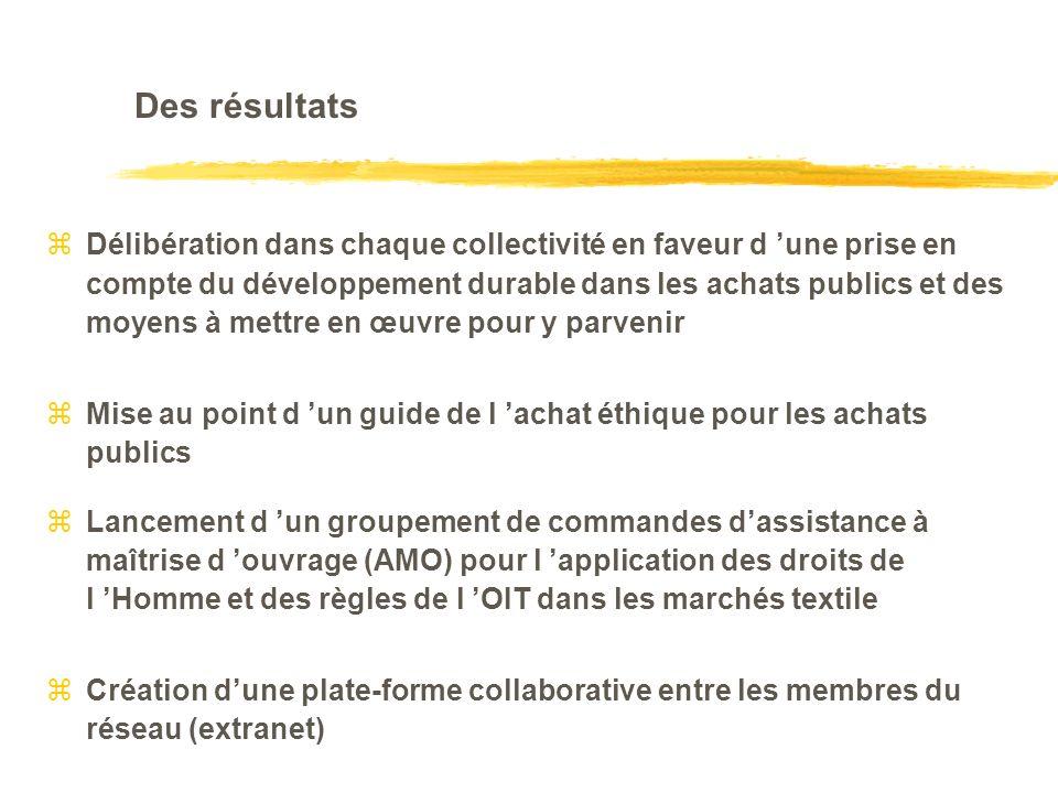 Des résultats zDélibération dans chaque collectivité en faveur d une prise en compte du développement durable dans les achats publics et des moyens à mettre en œuvre pour y parvenir zMise au point d un guide de l achat éthique pour les achats publics zLancement d un groupement de commandes dassistance à maîtrise d ouvrage (AMO) pour l application des droits de l Homme et des règles de l OIT dans les marchés textile Création dune plate-forme collaborative entre les membres du réseau (extranet)