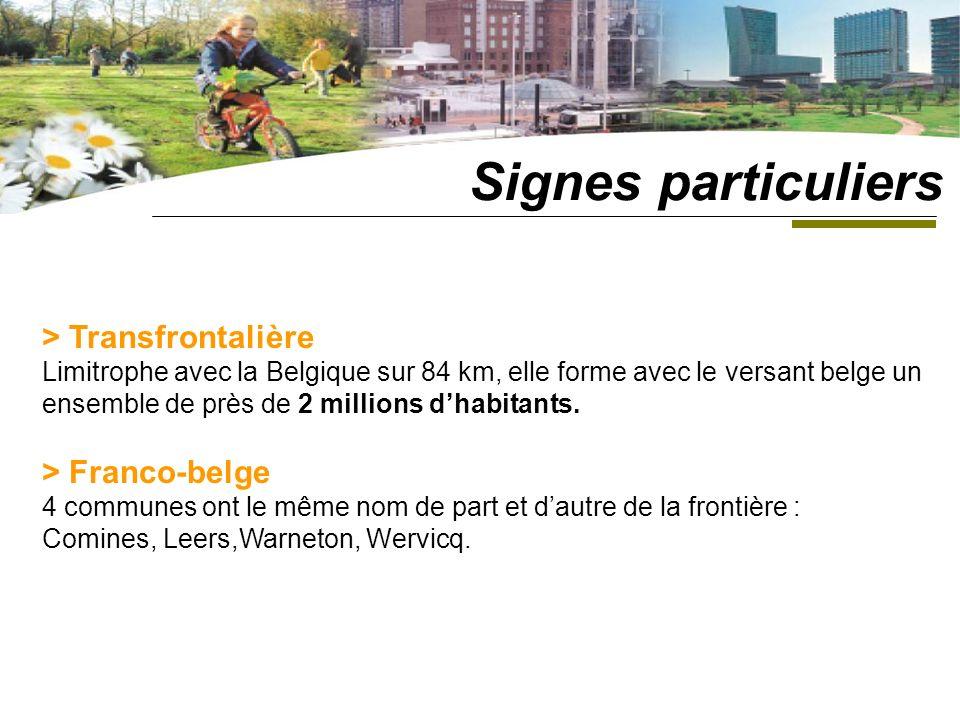 > Transfrontalière Limitrophe avec la Belgique sur 84 km, elle forme avec le versant belge un ensemble de près de 2 millions dhabitants.