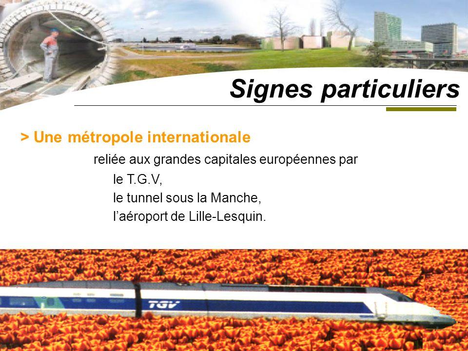 > Une métropole internationale reliée aux grandes capitales européennes par le T.G.V, le tunnel sous la Manche, laéroport de Lille-Lesquin.