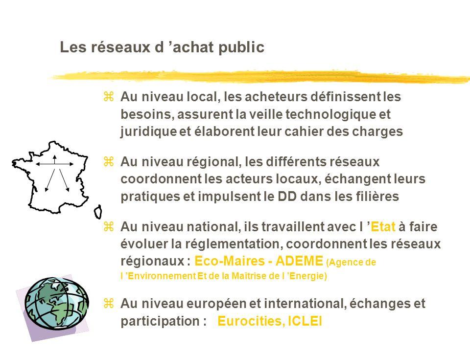 Les réseaux d achat public zAu niveau local, les acheteurs définissent les besoins, assurent la veille technologique et juridique et élaborent leur cahier des charges zAu niveau régional, les différents réseaux coordonnent les acteurs locaux, échangent leurs pratiques et impulsent le DD dans les filières zAu niveau national, ils travaillent avec l Etat à faire évoluer la réglementation, coordonnent les réseaux régionaux : Eco-Maires - ADEME (Agence de l Environnement Et de la Maîtrise de l Energie) Au niveau européen et international, échanges et participation : Eurocities, ICLEI