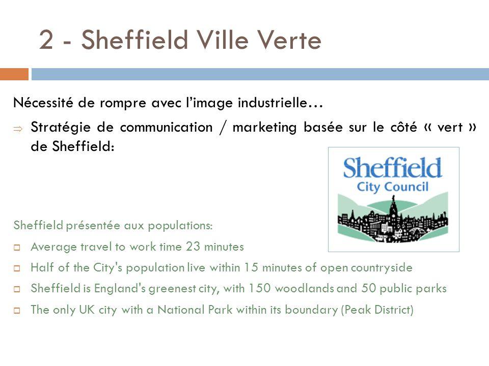 2 - Sheffield Ville Verte Nécessité de rompre avec limage industrielle… Stratégie de communication / marketing basée sur le côté « vert » de Sheffield