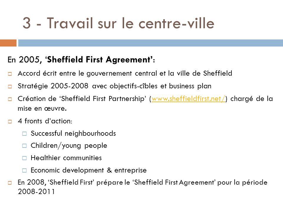 3 - Travail sur le centre-ville En 2005, Sheffield First Agreement: Accord écrit entre le gouvernement central et la ville de Sheffield Stratégie 2005