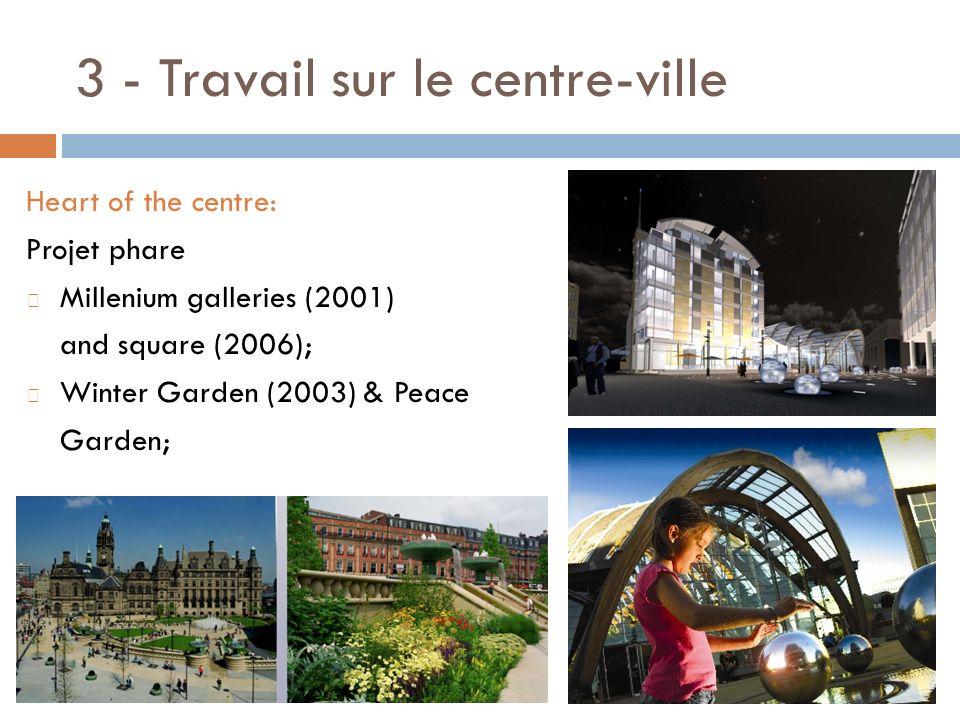 3 - Travail sur le centre-ville Heart of the centre: Projet phare Millenium galleries (2001) and square (2006); Winter Garden (2003) & Peace Garden;