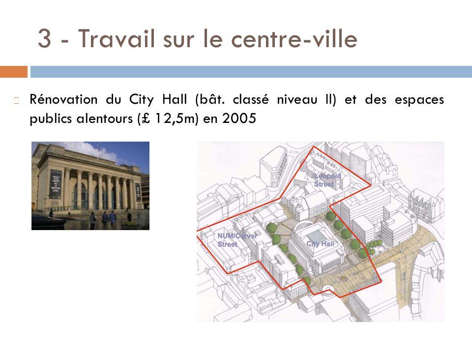 3 - Travail sur le centre-ville Rénovation du City Hall (bât. classé niveau II) et des espaces publics alentours (£ 12,5m) en 2005