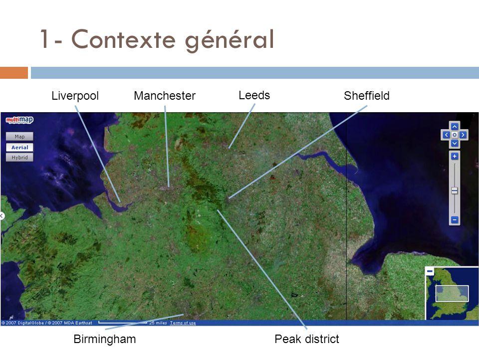1- Contexte général Leeds Birmingham SheffieldManchesterLiverpool Peak district