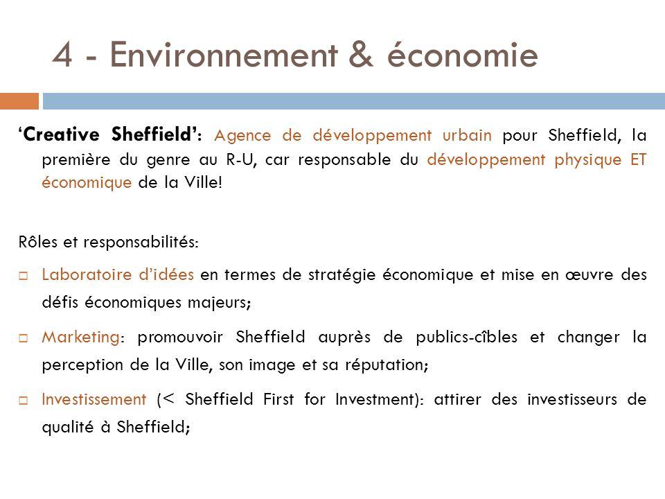 4 - Environnement & économie Creative Sheffield: Agence de développement urbain pour Sheffield, la première du genre au R-U, car responsable du dévelo