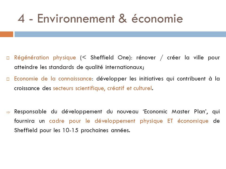 4 - Environnement & économie Régénération physique (< Sheffield One): rénover / créer la ville pour atteindre les standards de qualité internationaux;