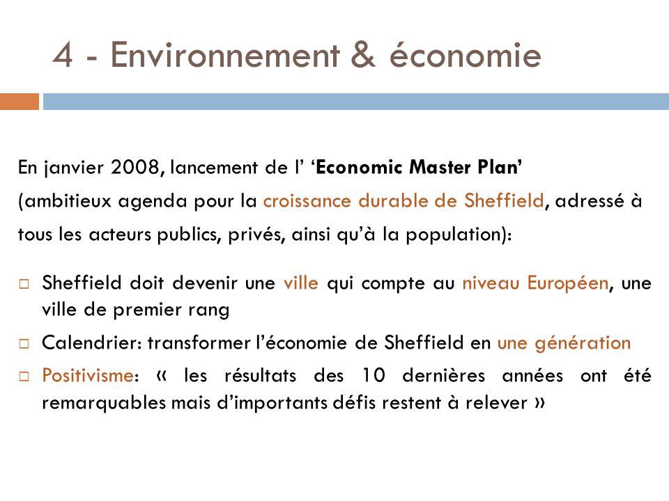 4 - Environnement & économie En janvier 2008, lancement de l Economic Master Plan (ambitieux agenda pour la croissance durable de Sheffield, adressé à