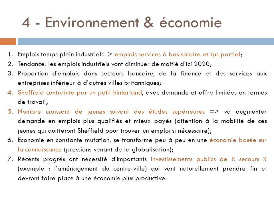 4 - Environnement & économie 1.Emplois temps plein industriels -> emplois services à bas salaire et tps partiel; 2.Tendance: les emplois industriels v
