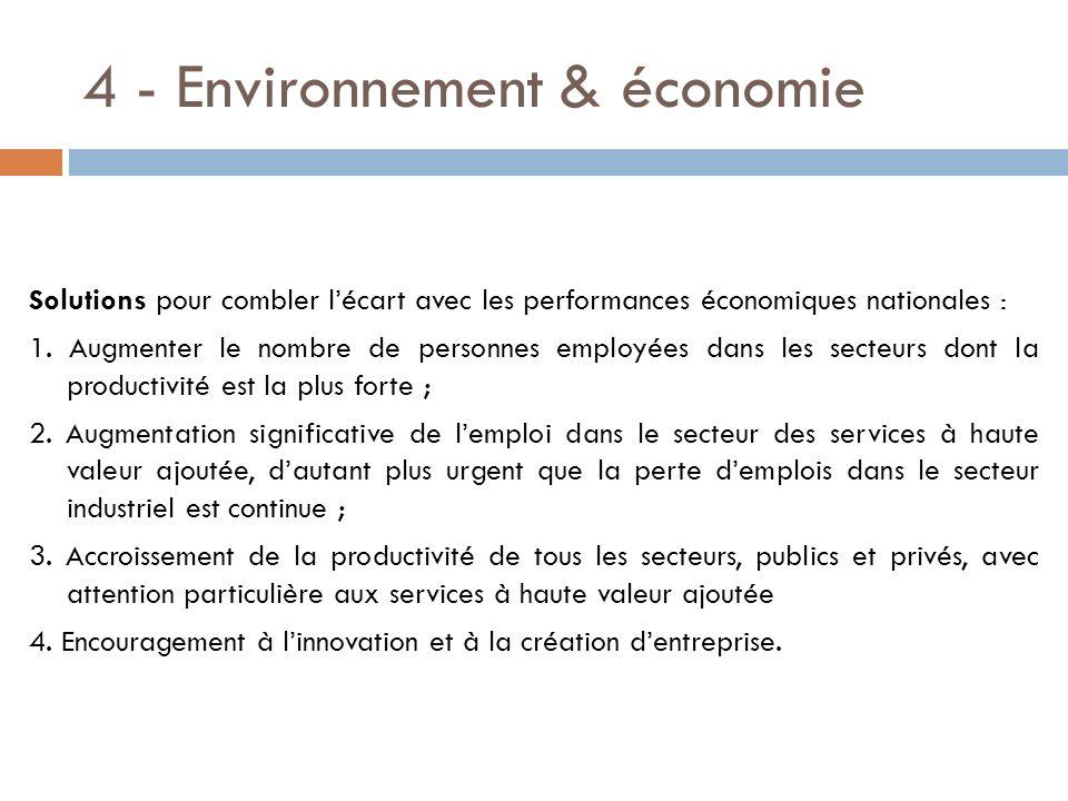 4 - Environnement & économie Solutions pour combler lécart avec les performances économiques nationales : 1. Augmenter le nombre de personnes employée