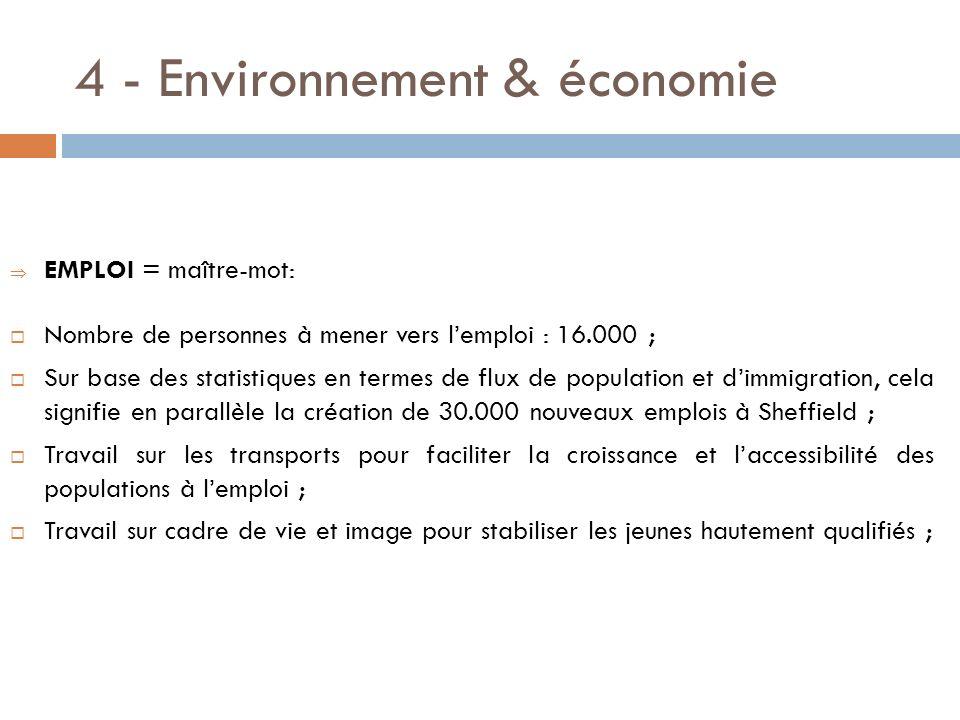 4 - Environnement & économie EMPLOI = maître-mot: Nombre de personnes à mener vers lemploi : 16.000 ; Sur base des statistiques en termes de flux de p