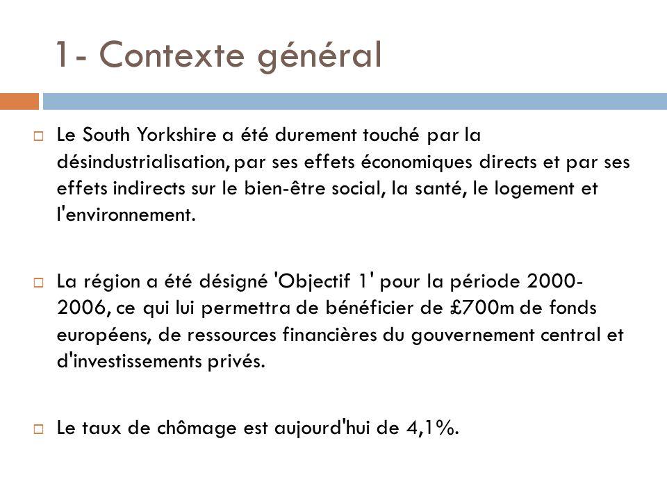 1- Contexte général Le South Yorkshire a été durement touché par la désindustrialisation, par ses effets économiques directs et par ses effets indirec