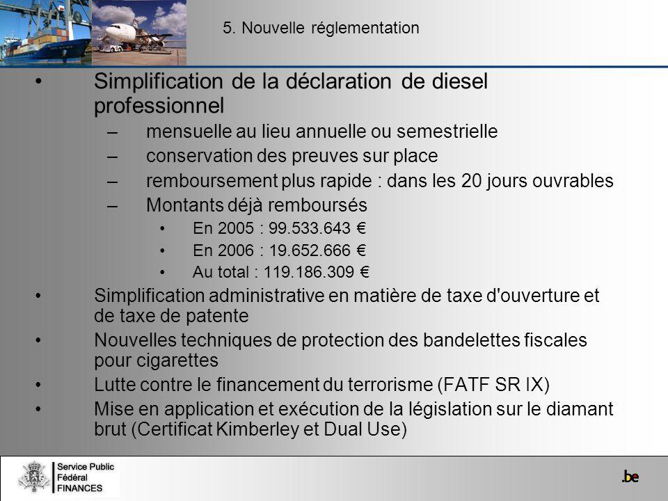 Simplification de la déclaration de diesel professionnel –mensuelle au lieu annuelle ou semestrielle –conservation des preuves sur place –remboursemen