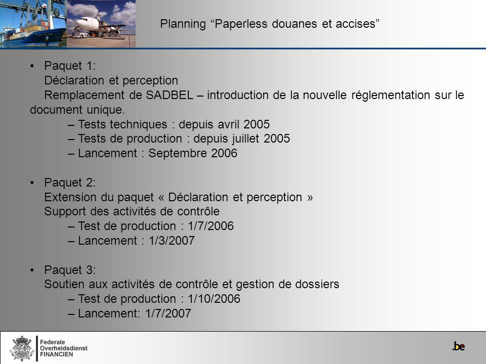 Planning Paperless douanes et accises Paquet 1: Déclaration et perception Remplacement de SADBEL – introduction de la nouvelle réglementation sur le d