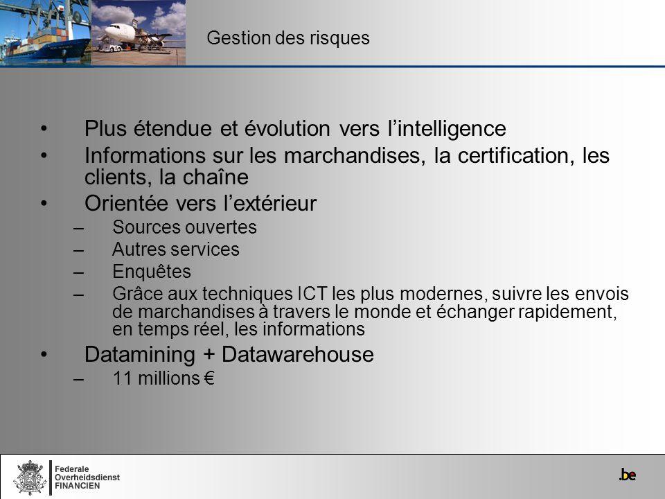 Plus étendue et évolution vers lintelligence Informations sur les marchandises, la certification, les clients, la chaîne Orientée vers lextérieur –Sou