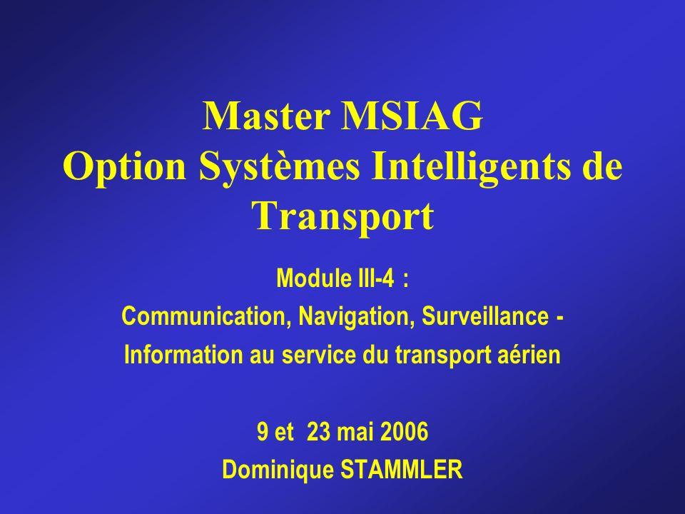 Master MSIAG Module CNS-ISTA 2006 Performances de lATM La sécurité est à la fois la moteur et la condition de lamélioration des autres performances de lATM Il est nécessaire de mesurer les performances avec les métriques appropriées lors du changement : « ce qui ne se mesure pas ne saméliore pas » Retard, prédictibilité, flexibilité, efficacité, accès, coût du service et sécurité Améliorer simultanément la sécurité et la capacité est la clé du futur de lATM