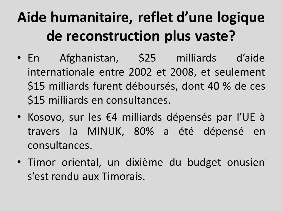 Aide humanitaire, reflet dune logique de reconstruction plus vaste.